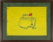 Tiger Woods Signed and Inscribed 2003 Masters Flag in Framed Display