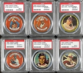 Group of Ten PSA Graded 1964 Topps Coins with Three Mickey Mantles (Both All Stars!)