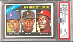 1966 Topps #225 NL Strikeout Leaders (Koufax Veale Gibson) - PSA  NM-MT 8