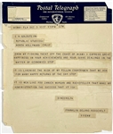 1937 Telegram from President Franklin D. Roosevelt Sent to Head of Republic Studios in Hollywood