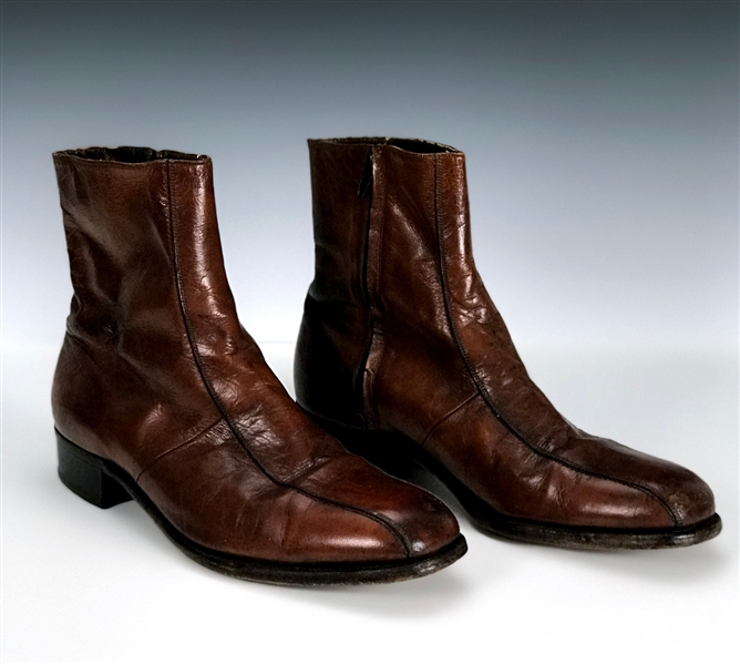 "Elvis Presley Owned ""Florshiem"" Brown Leather Ankle Boots Gifted to His Bodyguard Dave Hebler"