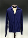 Elvis Presley Owned Custom Made Blue Nylon V-Neck Button Down Shirt Gifted to His Cousin Billy Smith