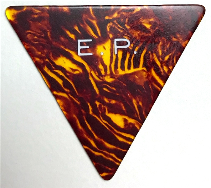 "Elvis Presley Owned ""E.P."" Faux Tortoiseshell Triangular Guitar Pick with LOA from Graceland"