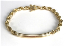 14K Gold ID Bracelet Gifted by Elvis Presley to His Bodyguard Dick Grob
