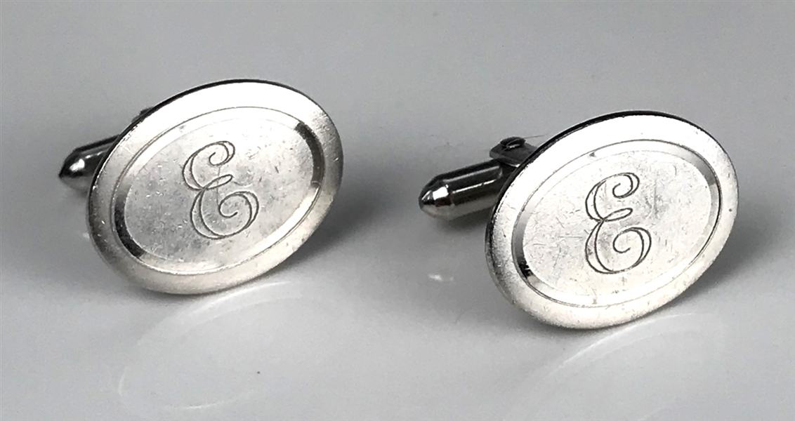 "Elvis Presley Owned Sterling Silver Cufflinks with the Letter ""E"" on Each - Gifted to His Cousin Patsy Presley"