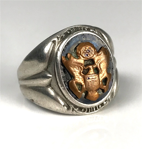 Elvis Presleys United States Army Insignia Sterling Silver Ring - Gifted to His Cousin Patsy Presley