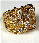 Elvis Presley Owned 14K Gold Nugget Ring with 12 Diamonds Gifted to J.D. Sumner – Former Mike Moon Collection