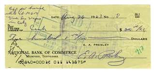 Elvis Presley Signed Check Written on August 23, 1963, for Expenses While Filming <em>Viva Las Vegas</em>