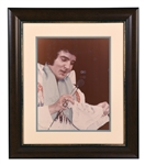 Impressive Elvis Presley Signed 11x14 Photo of Elvis in Concert Wearing One of His Blue Stage Scarves