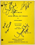 "1967 <em>BATMAN</em>TV Show Original Episode Script ""Enter Batgirl, Exit Penguin"" Signed by Adam West, Burt Ward, Burgess Meredith and Yvonne Craig"