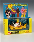 "1968 Corgi ""The Beatles Yellow Submarine"" Die-Cast Toy in Original Box - The Rare First Version with Yellow and White Hatches"