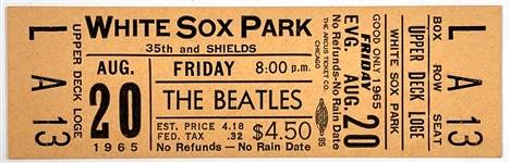 Gorgeous 1965 FULL Ticket for Beatles August 20, 1965 Concert at White Sox Park