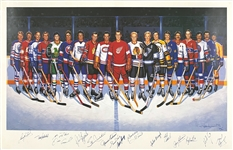 NHL 500 Goal Scorers Signed Ron Lewis LE Print (689/100) Signed by 16 Hall of Famers Incl. Gordie Howe, Bobby Hull and Johnny Bucyk