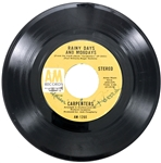 "1971 ""Rainy Days and Mondays"" 45 RPM Single Signed on the Label by Karen and Richard Carpenter"