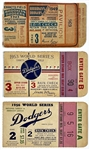 Trio of Brooklyn Dodgers vs. New York Yankees World Series Ticket Stubs at Ebbets Field - 1949, 1953 and 1956