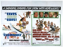 1967 <em>Clambake</em> British Quad Movie Poster – Starring Elvis Presley – Combo Poster with <em>Eight on the Run</em>