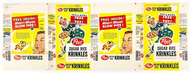 "1959 Post ""Sugar Rice Krinkles"" Full Box Printers Proof with Mighty Mouse Toy Ad"
