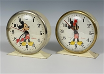 Pair of 1947 Ingersoll Mickey Mouse Alarm Clocks – Brass and Chrome Rim Variations