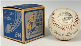 "1934 Chicago ""Century of Progress"" Worlds Fair  ""Boys League Base Ball"" In Original Pictorial Box"