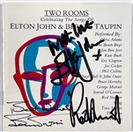 Elton John, Bernie Taupin and Rod Stewart Signed CD Cover for <em>Two Rooms-Celbrating the Songs of Elton John & Bernie Taupin</em>