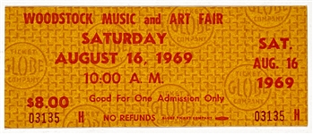 "Full Unused Ticket for August 16, 1969 ""Woodstock Music and Art Fair"" - From the ""Cross Safe Company"" Find"