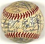 Ted Williams Signed Half Baseball Also Signed by 18 Other Boston Red Sox Hall of Famers, Players, Owners and Announcers in the 1960s & 70s
