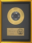"RIAA Gold Record Award for Elvis Presleys 1958 Single ""I Got Stung"" - ""Presented to Elvis Presley"" - Certified in 1983"