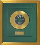 "1957 RCA Green Felt Gold Record Award to Colonel Tom Parker for Making Elvis Presley's ""Jailhouse Rock"" A Million Seller"