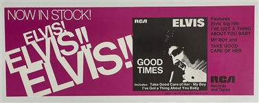 "Elvis Presley 1974 <em>Good Times</em> Album Promotional Collection with Record Store Poster, ""Not For Sale"" Copy of the LP and RCA ""Indianapolis"" Shipping Box (3 items)"