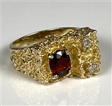 Elvis Presley Owned 14K Gold Nugget Diamond and Garnet Ring Given to His Girlfriend Sheila Ryan – Former Jimmy Velvet Collection
