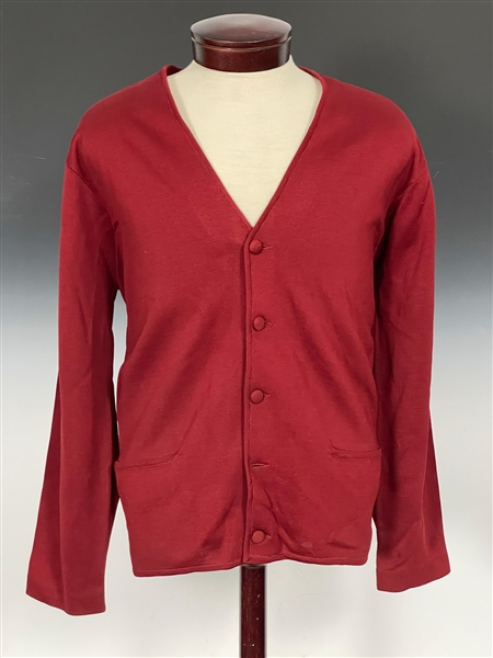 "Elvis Presley Owned Deep Red 1960s ""Sy Devore"" Button-Down Cardigan Sweater"
