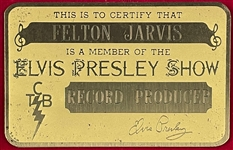 "Felton Jarvis' ""ELVIS PRESLEY SHOW"" Gold Metal ID Card Used on Tour - Elvis Presley's ""RECORD PRODUCER"" - with Graceland Authenticated LOA"