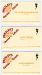 """Presleys Center Courts"" Business Cards for Elvis Presley, Joe Esposito and Dr. Nick - with Letter from Elaine Nichopoulous and Graceland Authenticated LOA"