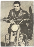 "1967 ""Personality Posters"" Elvis Presley Poster Riding Motorcycle in Black Leather Jacket"