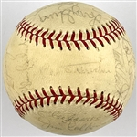 1970 Cubs Team Signed Baseball with 25 Signatures Incl. Ernie Banks and Manager Leo Durocher on the Sweet Spot