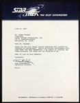Gene Roddenberry Signed Letter on <em>Star Trek: The Next Generation</em> Letterhead Plus His Business Card with Starship Enterprise Image!